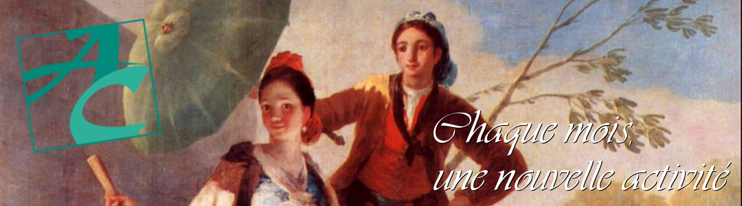 Bannière avec slogan sur fond de peinture de Goya (peintre sourd). Couple avec ombrelle