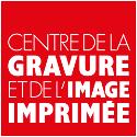 logo centre de la gravure sur fond rouge