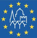 logo représentant des bâtiments historiques, avec des petites étoiles jaunes tout autour