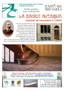 l'affiche montre le bas de l'escalier avec des mosaiques, ainsi qu'un portrait d'Autrique