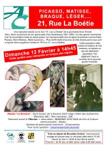 Affiche illustrée d'un grand 21 avec un tableau dedans, d'une photo du marchand d'Art et d'un titre sur fond rouge