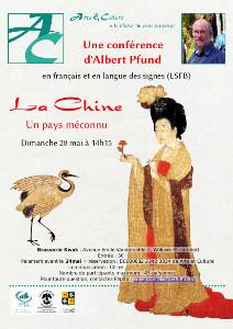 L'image montre une chinoise en habit traditionnel et une grue (l'oiseau, pas l'engin de chantier !). En médaillon, la photo du conférencier