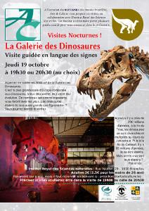 Affiche avec un crâne de tyranosaure en gros plan et un squelette de tricératops éclairé en rouge