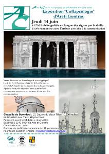 affiche Areti avec la bourse en ruines et la place de Bruxelles sous les eaux