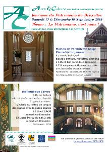 Affiche avec photos montrant l'intérieur des bâtiments