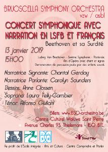 affiche concert beethoven sur fond rose