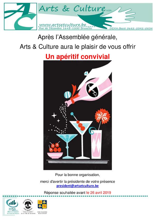 invitation à l'apéritif après l'assemblée, avec une illustration de verres à coctails