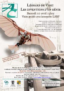 affiche expo da Vinci avec un homme volant