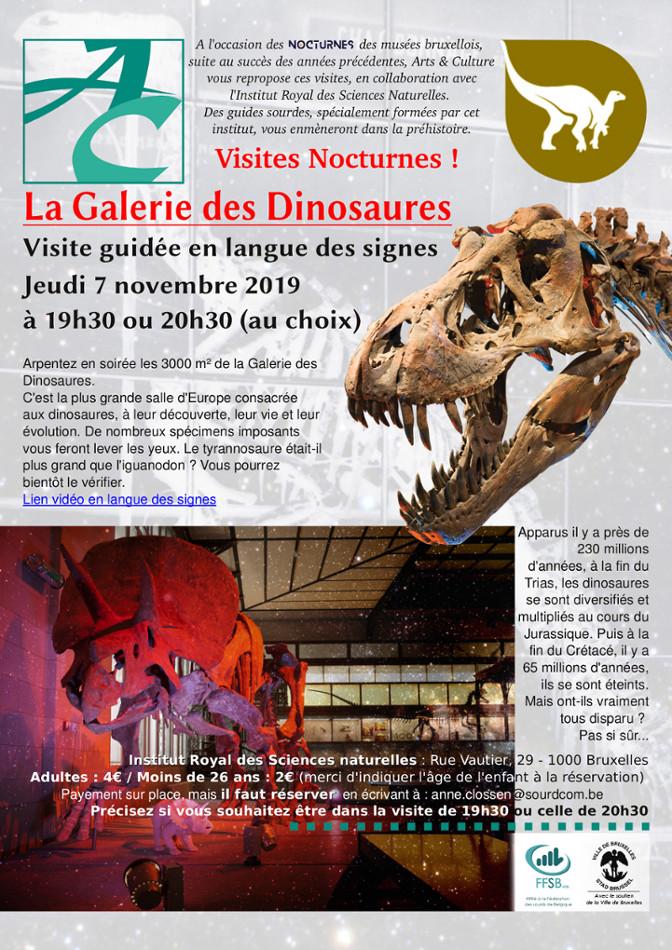 affiche avec un squelette de tricératops et un crâne de tyrannosaure