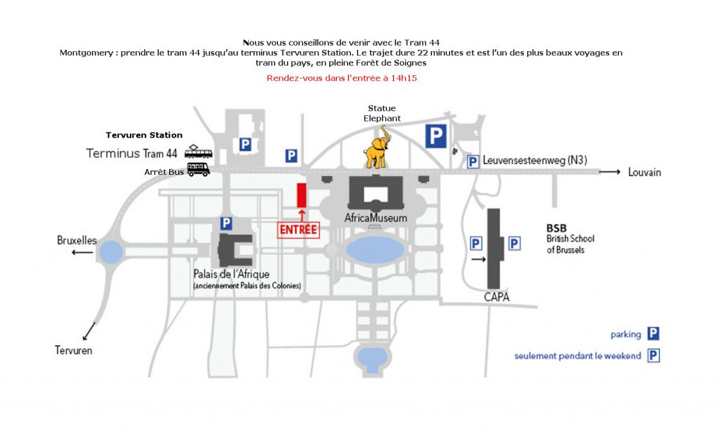 plan des lieux montrant quelques points de repères : l'éléphant, l'arrêt de bus, les bâtiments