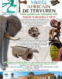 affiche avec un éléphant, des masques, une sculpture, une hache et des jumelles