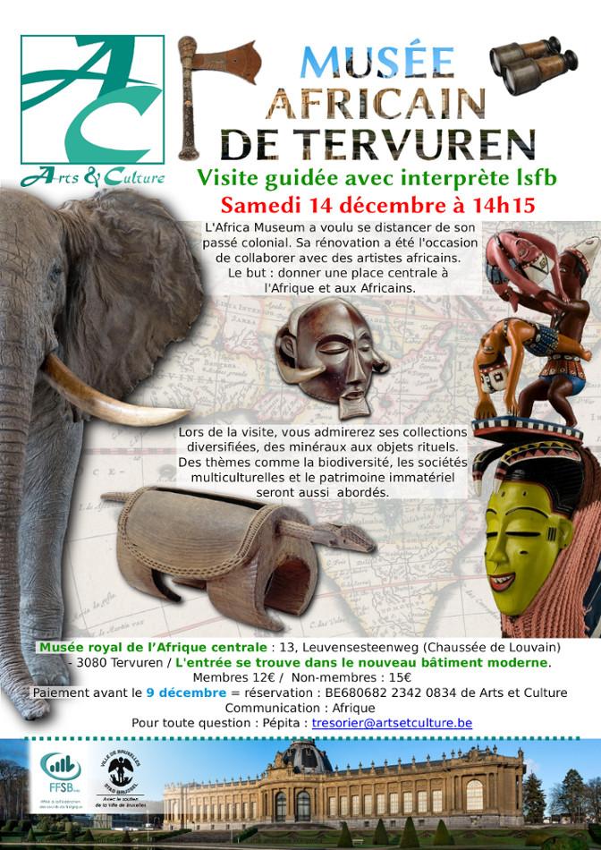 affiche montrant un éléphant, des masques et des objets d'art africain.