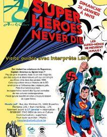affiche sur fond jaune avec superman et gros titre rouge et un rat dans le coin