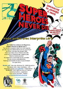 Les super-héros ne meurent jamais, avec une illustration de superman