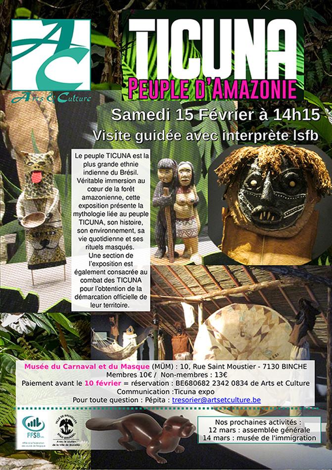 affiche montrant plusieurs photos de l'exposition (un masque, de petits personnages et un habitat traditionnel reconstitué)