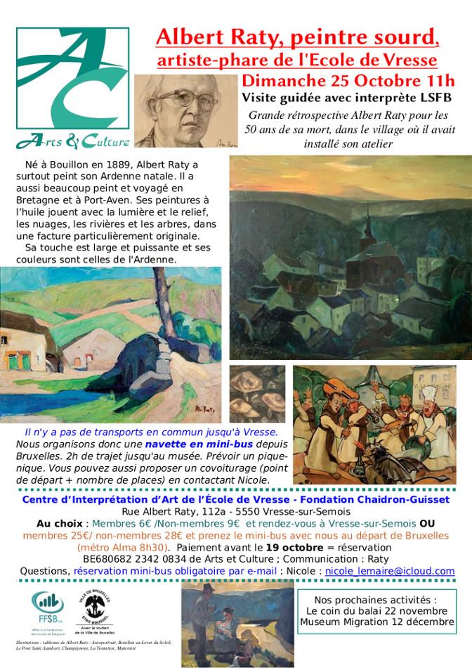 Affiche pour l'expo avec un autoportrait du peintre et plusieurs paysages ardennais