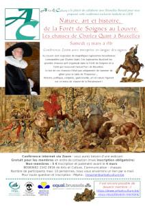Affiche montre le conférencier et une tapisserie représentant une scène de chasse avec cavaliers, sangliers et chiens sanguinaires.