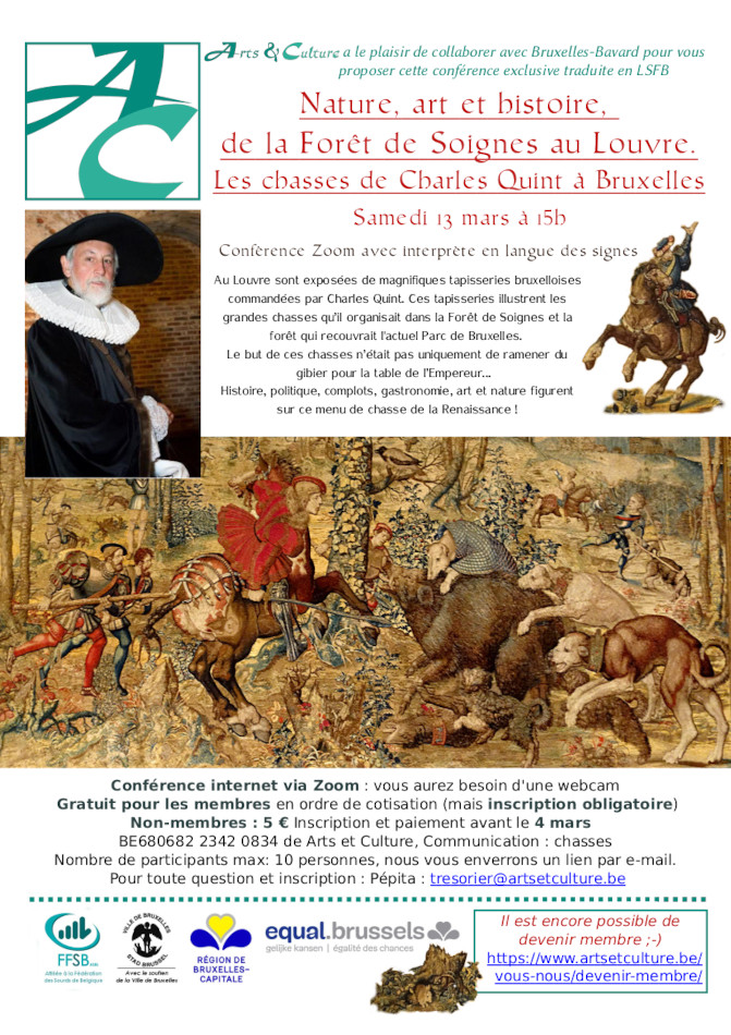affiche montrant une partie de tapisserie avec des chiens assaillant un sanglier, un cavalier et d'autres chasseurs. Il y a aussi une photo du conférencier et un petit lapin dans le bas de l'affiche
