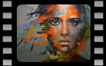 portrait de femme avec des taches de couleurs suggérant les émotions, peint par Gilliane Warzee