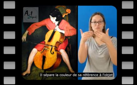 Tableau montrant une femme qui joue de la contrebasse