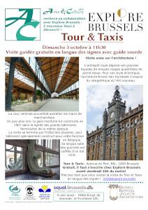 Vues du site de tour et taxis : horloge en façade, détails intérieurs
