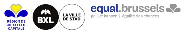 logos de : région bruxelles capitale, ville de Bruxelles et equal brussels
